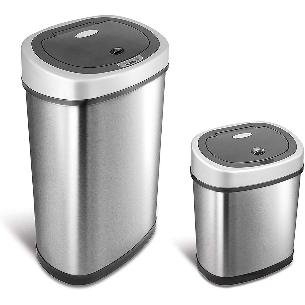 NINESTARS 時尚不銹鋼感應垃圾桶50L+12L