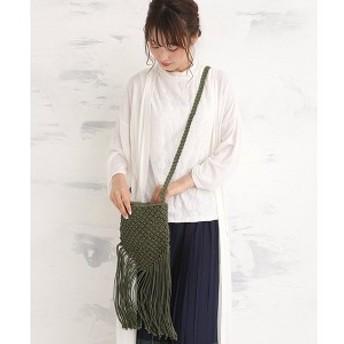 BASE(BASE)/マクラメ編み ロングフリンジショルダーバッグ