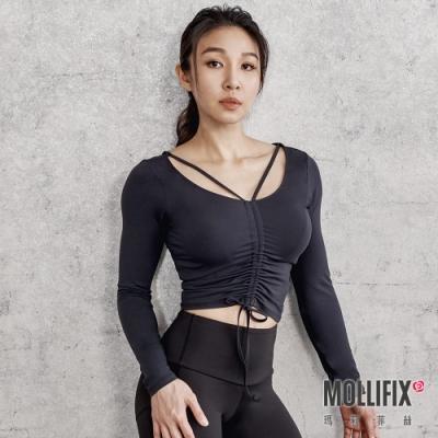 筋肉媽媽聯名 Mollifix 瑪莉菲絲 前抽繩美背短版長袖訓練上衣