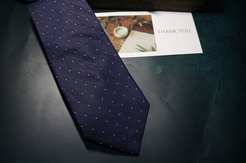 深藍色小點暗花領帶桑蠶絲百搭好配necktie