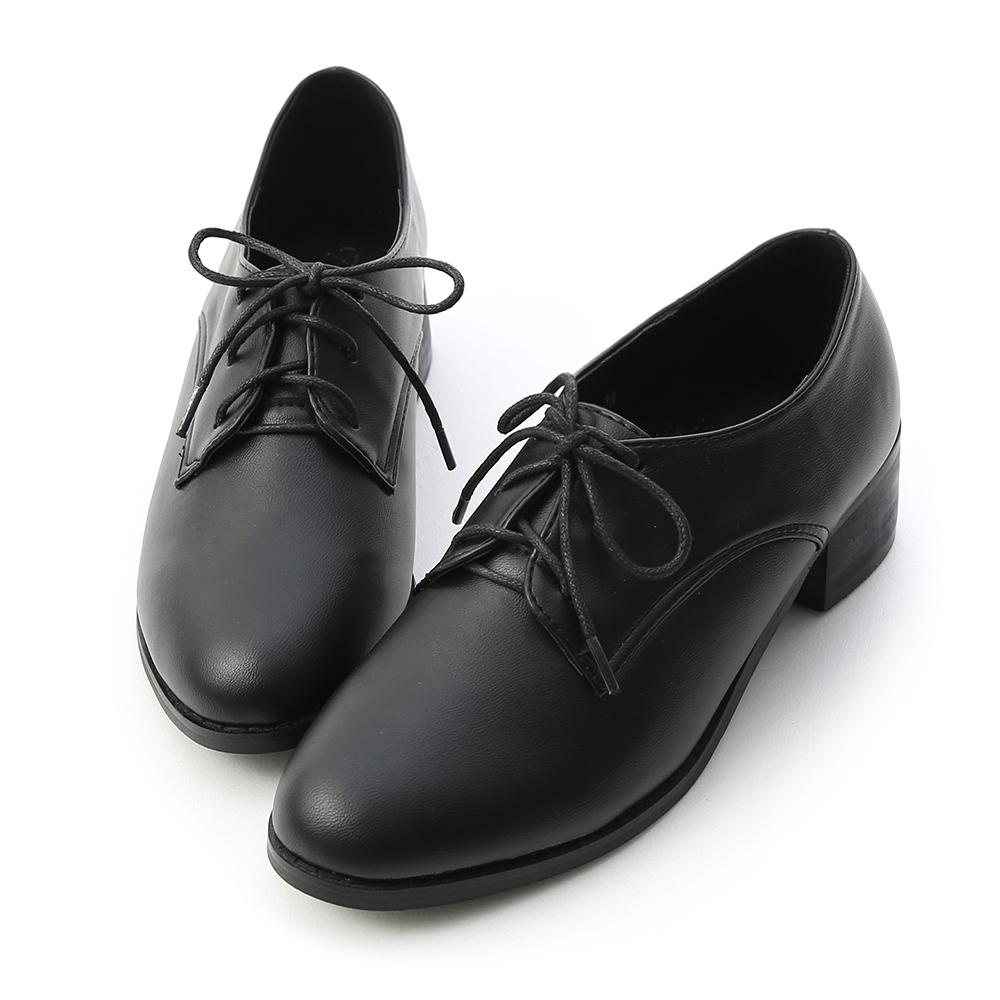 D+AF 知性學院 素面綁帶木紋跟牛津鞋