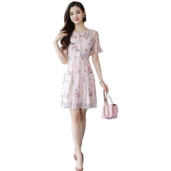 女性の半袖ドレスカジュアル印刷シフォンVネックルースドレス シンプルな (色 : ピンク, サイズ : M)