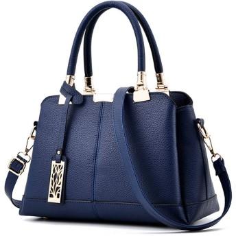 IhDFR レディースハンドバッグ、ファッションパテントレザー光沢のあるカジュアルショルダーメッセンジャーバッグ財布ワイルド(色:ブルー) (Color : Blue)
