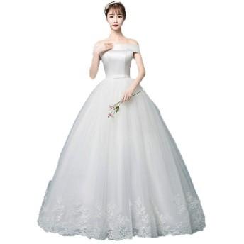 結婚式 花嫁 二次会ドレ 女性のオフショルダーレースのアップリケボールドレスの花嫁のウェディングドレスヴィンテージスリムかぎ針編みのサテン花嫁ドレスフォーマルパーティーイブニングドレスホワイト フォーマル (Color : White, Size : XL)