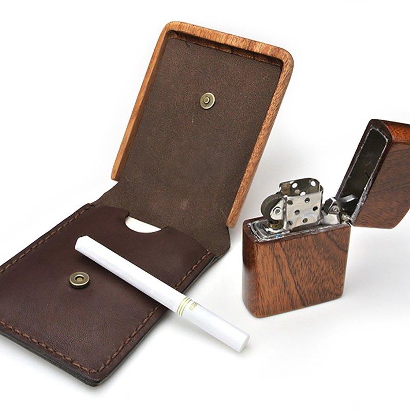 便攜式煙灰缸木材和皮革製品