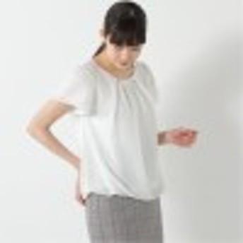 【通勤】ネックレス付き◎フレア袖で二の腕カバー裾バルーンプルオーバー