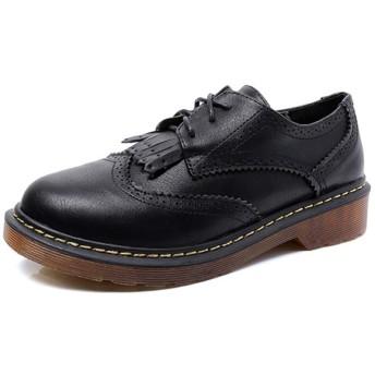 [GUREITOJP] オックスフォードシューズ レディース ブローグ 大きいサイズ レースアップ マニッシュシューズ タッセル おしゃれ ヴィンテージ 英国風 滑りにくい 革靴 カジュアル ウィングチップ靴 白 黒 ブラウン