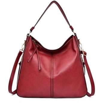 IhDFR 女性、タッセルレザーガントートブラウンとのショルダーバッグラージクロスボディバッグ用ハンドバッグ (Color : Red)