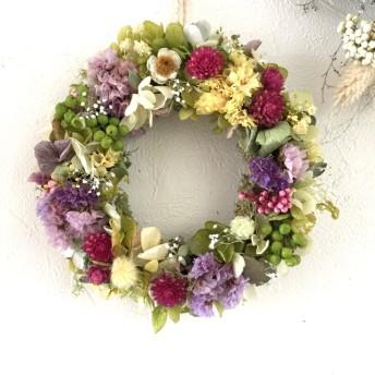 紫陽花と小花のミニリース ドライフラワー 春 プレゼント