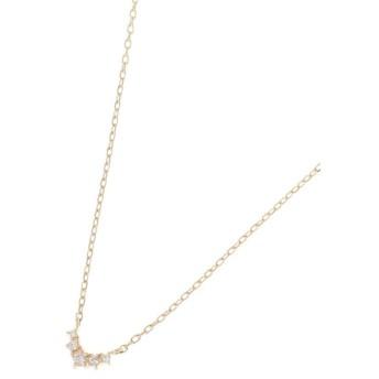 ココシュニック ダイヤモンド グラデーションV字 ネックレス レディース イエローゴールド(104) 40 【COCOSHNIK】