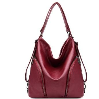 IhDFR 女性の革のハンドバッグ、レディーストートショルダーバッグヴィンテージファッションデザイナーショルダーバッグ14inラップトップバッグブラック (Color : Red)