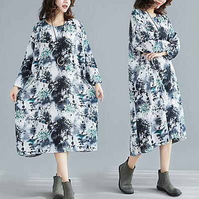 洋裝 短袖連身裙8014#胖MM春秋款棉麻文藝大碼連身裙F5F005衣時尚