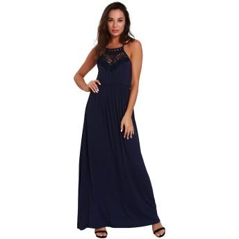 のドレス 女性サスペンダーレース大スイングモップブルードレス パーティー、結婚式などに最適 (Color : Blue, Size : M)
