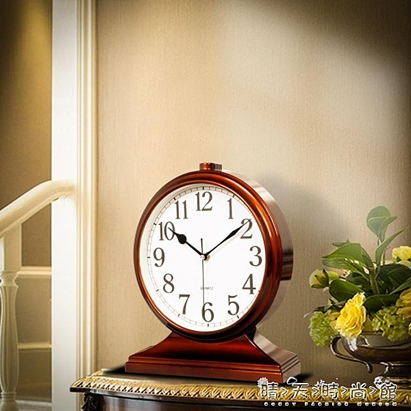 鐘錶擺件家用創意客廳大號座鐘臺式時鐘桌面座式擺鐘臥室靜音臺鐘WD晴天時尚