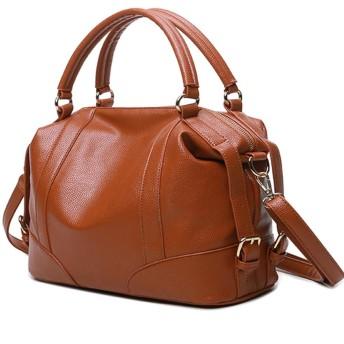 レディースファッション漆婦人用バッグ正方形カラー本革ジッパー仰々しい容量ショルダーバッグハンドバッグ牛革ショルダーバッグ 女性女の子 (色 : Brown)