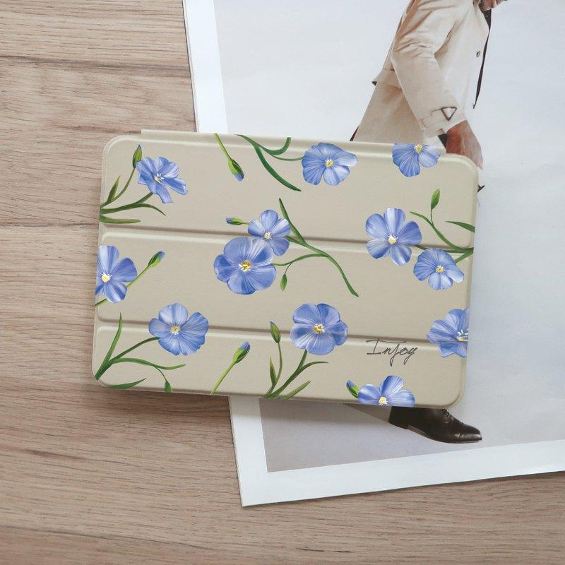 iPad 12.9/Air4/iPad 8/mini 5 清新藍色亞麻花皮革平板保護套