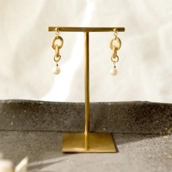 Thick chain and pearl ゴールドチェーンと淡水パール ピアス イヤリング 金属アレルギー対応
