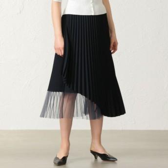 【キャスト(CAST:)】 チュールコンビラップスカート ネイビー