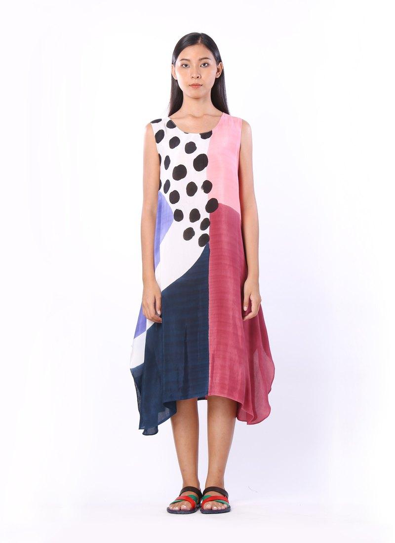 無袖圖形連衣裙,手繪真絲棉織物質地柔軟(s,m,l,xl)