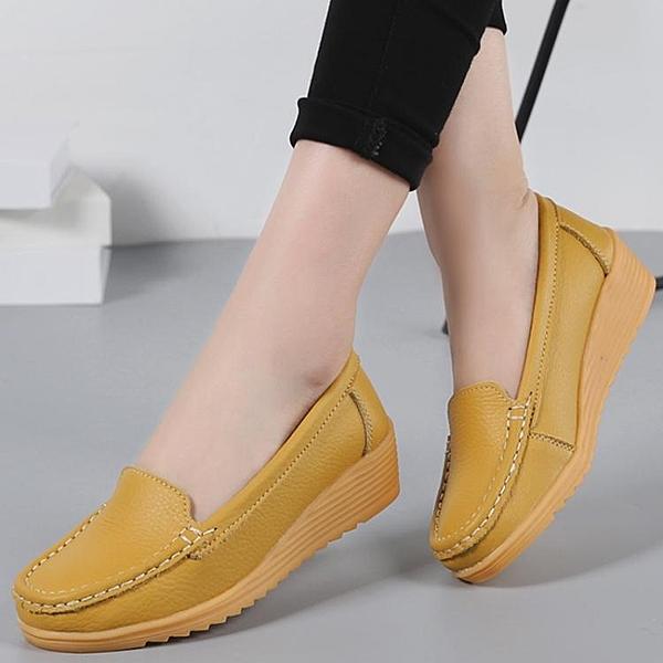 護士鞋 真皮軟底媽媽鞋女春秋季新款韓版坡跟厚底中跟護士鞋豆豆鞋女  曼慕