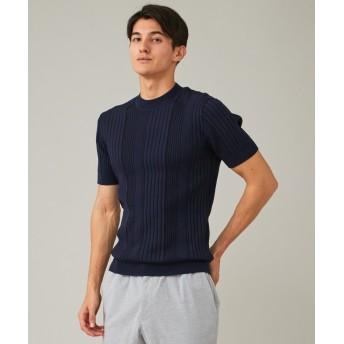 【洗える】グラデーションメッシュリブ ニット Tシャツ