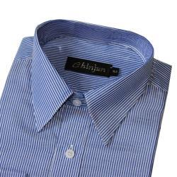 Chinjun抗皺商務襯衫,短袖,藍底白線條(s2014-9)