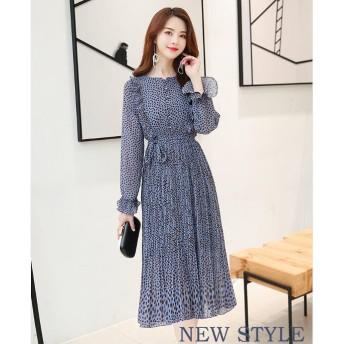 高品质な韩国ファッションワンピースにシフォン/レース/ブラウス风ドレス韩国版ドレスを着たゆるやかなワンピース /プリント/シフォン