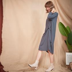 【Abbie】休閒側紐結長袖洋裝