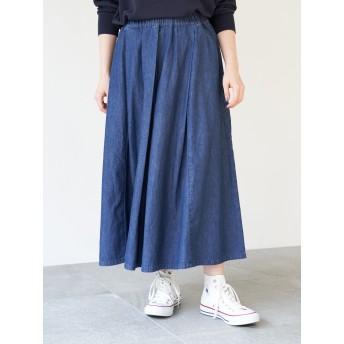 【6,000円(税込)以上のお買物で全国送料無料。】ライトデニムタックフレアースカート