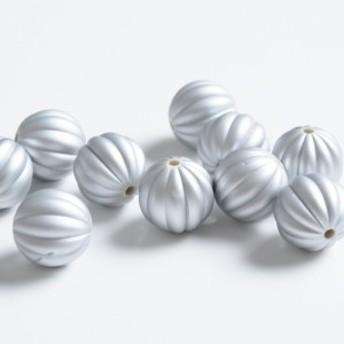 かぼちゃ型 ビーズ シルバー 16.5mm 10粒 ネックレス ブレスレット パーツ ハンドメイド 材料 アクセサリーパーツ