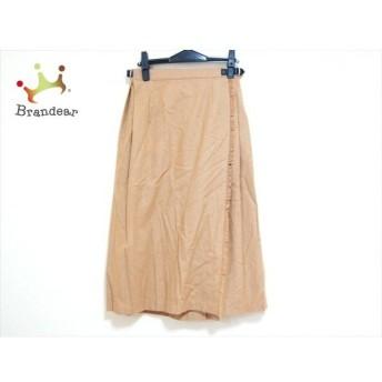 オニール O'NEIL 巻きスカート サイズ42 L レディース 美品 ベージュ×黒 プリーツ 新着 20200315