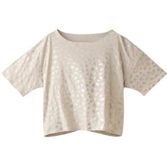 PLAIN PEOPLE プレインピープル 【plainless】箔プリントTシャツ ベージュ