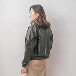 【Abbie】時尚光感亮片皮革外套