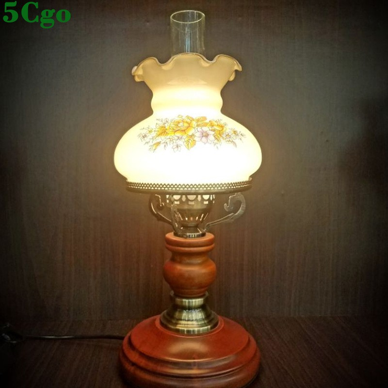 5Cgo【燈藝師】玻璃燈罩咖啡色歐式木藝床頭檯燈美式複古懷舊台燈簡約檯燈583775411077