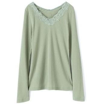 59%OFF【レディース】 レース使いVネックTシャツ - セシール ■カラー:セーブルグリーン ■サイズ:M,3L,LL,L