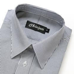 Chinjun抗皺商務襯衫,短袖,黑白相間條紋(s907)