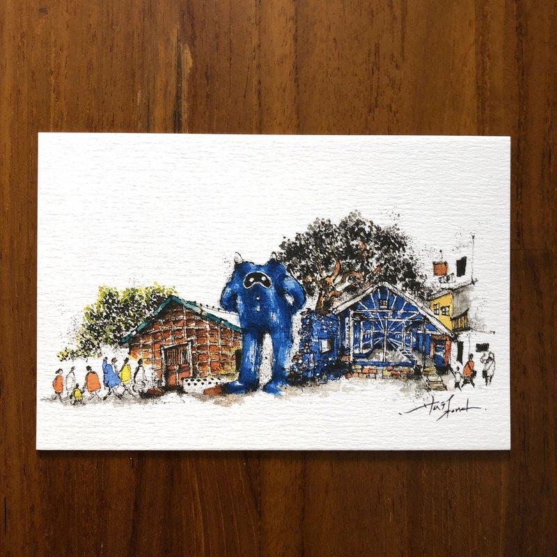 枯枝筆速寫 台南景點 藍晒圖 水彩 插畫 手繪明信片