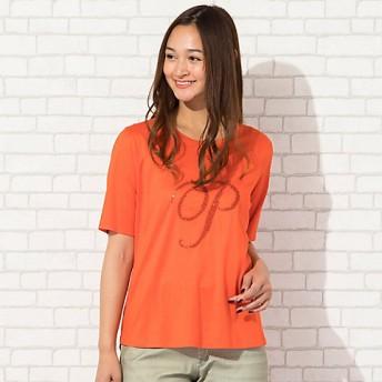 【送料無料】<PISANO/ピサーノ> 大きいサイズ ビーズ刺繍「P」ロゴ・クルーネックTシャツ(56122003) オレンジ【三越・伊勢丹/公式】