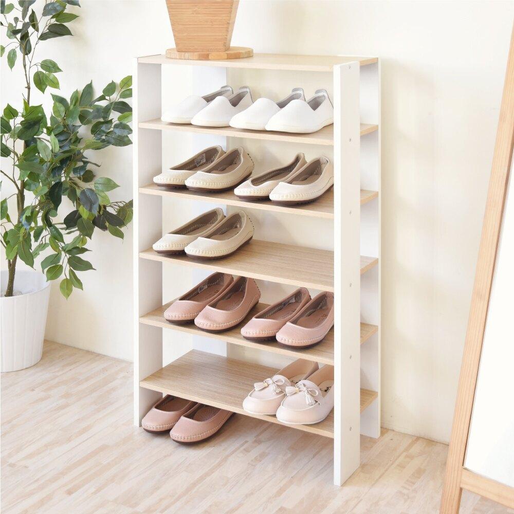 Hopma 多功能開放式五層鞋櫃 收納櫃 白橡配白
