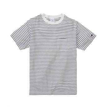 Champion(チャンピオン)綿100%ボーダー ポケット付き半袖Tシャツ/BASIC Tシャツ・カットソー, T-shirts
