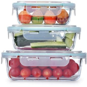 YI GAO 組み合わせボックスをフレッシュに保ち、ガラス新鮮キープボックスガラスランチボックスオフィスワーカー電子レンジ弁当箱密封されたランチボックスセット、 # (Color : A)