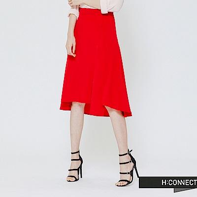 H:CONNECT 韓國品牌 女裝 - 左開衩單色不規則收邊中長裙-紅(快)