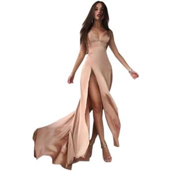 アダルト下着 サテンの深いVネックノースリーブスプリットセクシーなドレスボディコン女性パーティーロングカーキドレス (Color : Golden, Size : M)
