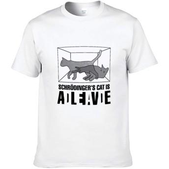 シュレディンガーの猫 印画 2 Tシャツ メンズ 半袖 無地 丸首 おおきいサイズ 人気 トップス