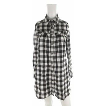 【中古】Rue de B リューデベー ロートレアモン ワンピース ロング シャツ 長袖 袖調節可能 チェック柄 黒 ブラック 白 コットン 2