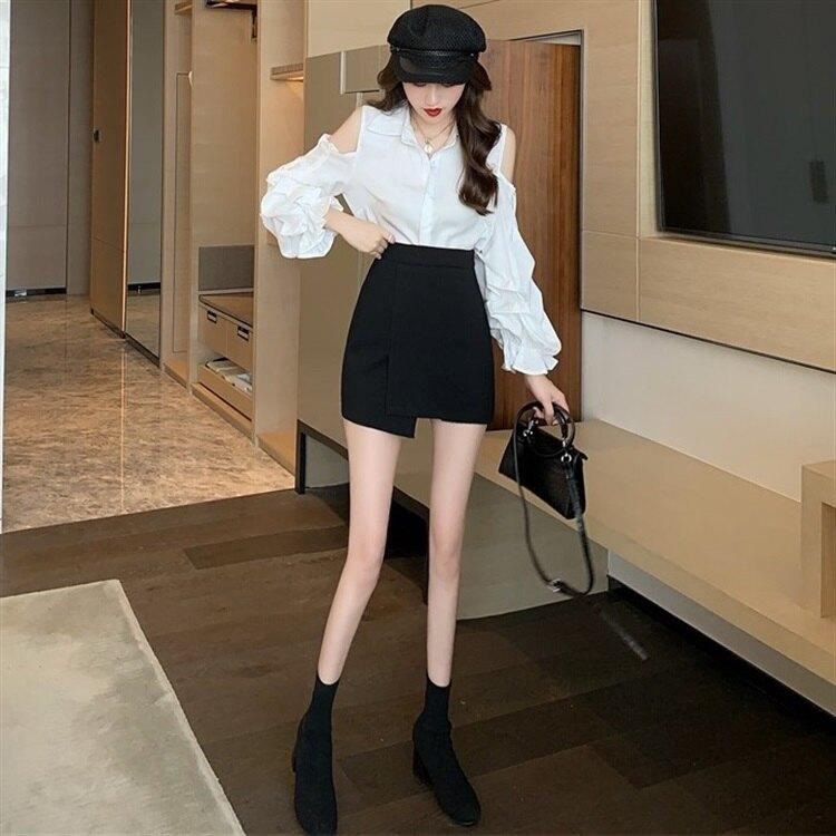 A字裙 春夏新款不規則半身裙女大碼胖mm黑色短裙高腰短款包臀a字裙『XY1875』