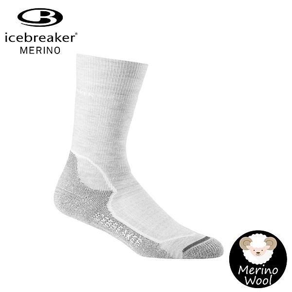 【Icebreaker 女 中筒中毛圈健行襪《灰白》】IBND15/快乾機能襪/排汗襪/羊毛襪