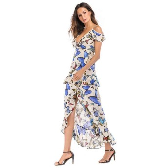 WSJTT レディース花は、フロントクロスディープVネックルーズショートミニドレスを印刷します (Size : XL)