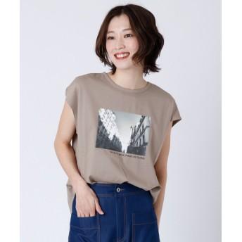 (LASUD/ラシュッド)[soeur7] フォトプリント Tシャツ/レディース ベージュ
