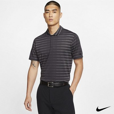 Nike Golf Dri-FIT Tiger Woods 男款條紋Polo衫 黑 BV0351-010